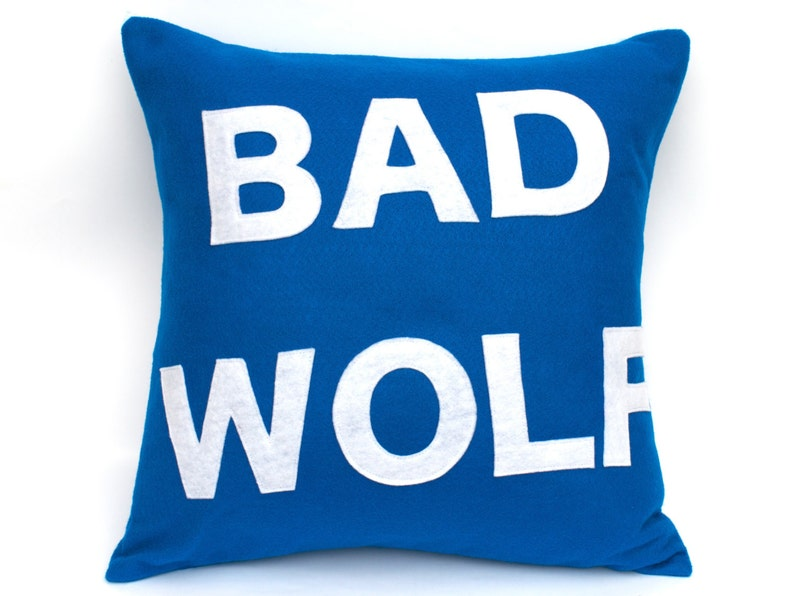 Bad Wolf Appliqued Eco-Felt Pillow Cover in Bright Blue and image 0