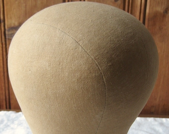 """Antique Canvas Hat Form - 21.5"""" Millinery Fabric Hat Block - Vintage Milliner Wig / Hat Stand - Pinnable Fabric Photo Prop Shop Display"""