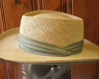 d447d818d76bc Straw Panama Hat by Summer Club - Vintage Stiff Woven Men s Hat - Summer  Outdoor Vented Hat - Breathable Straw Hat - 22.5