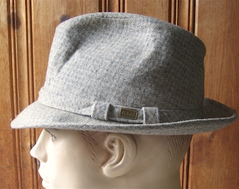 Fedora by Adam - Vintage Designer Lined Men s Hat - Muted Checked Wool  Tweed Man s Hat - Belted Band 5e1d345bcb23