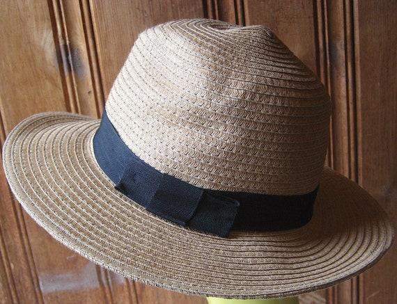 3a52b9daf86 Dark Ribbon Bow Straw Hat Large Brim Floppy Straw Hat