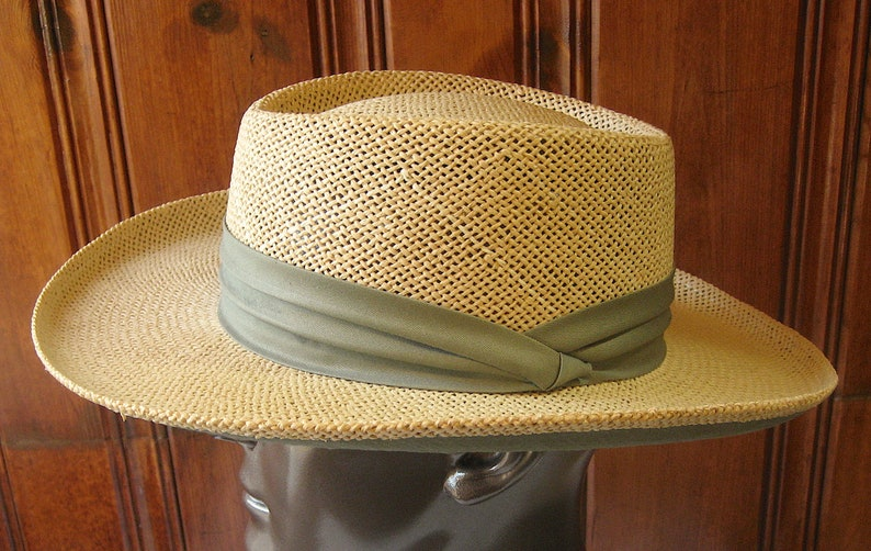 034901a8aaa15 Straw Panama Hat by Summer Club Vintage Stiff Woven