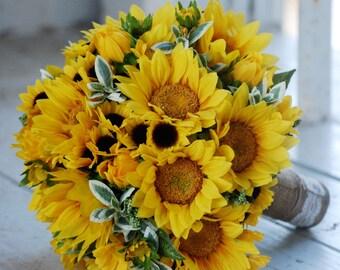 Silk bridal bouquet, sunflowers, yellow, matching boutonniere