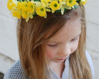 Flower crown, yellow daffodils, size small