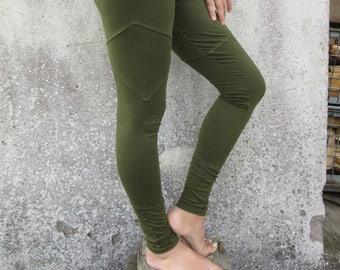 Party Leggings ~ Yoga pants ~ Rave Leggings ~Green pants for women ~ Psy ~ Goa ~ Tribal clothing ~ Woodland clothing ~ Earthy legwear