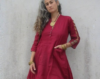 5d28adec13d7 Boho tunic ~ Himalaya kurta ~ Indian kurta ~ Cotton voile shirt ~ Lagenlook  smock ~ Ethnic clothes for her ~ Gypsy top