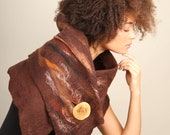 Rustic brown stole Women accessories Winter shawl Merino wool stole Boho accessories Nuno felted wrap Earthy accessories