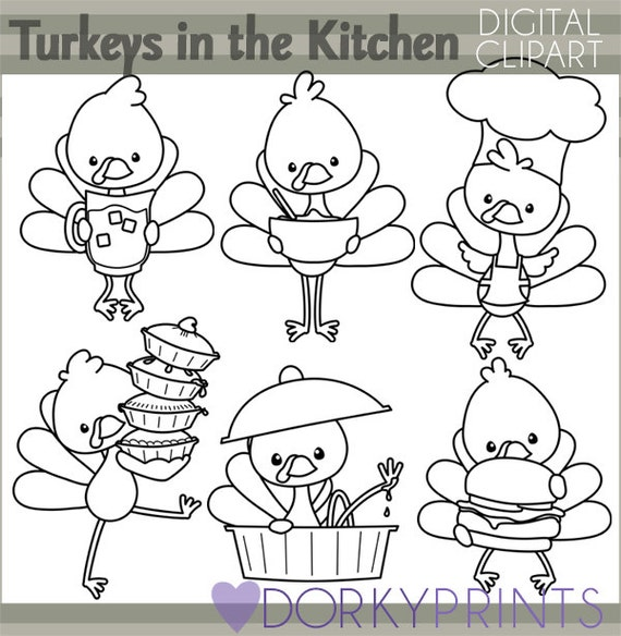Thanksgiving Clipart Turkeys In The Kitchen Personal And Limited Commercial Use Blackline Turkey Clipart