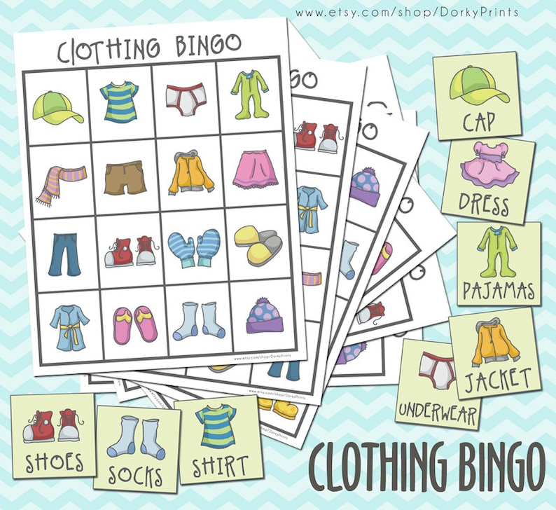 Clothing Printable Bingo Game PDF preschool printable | Etsy
