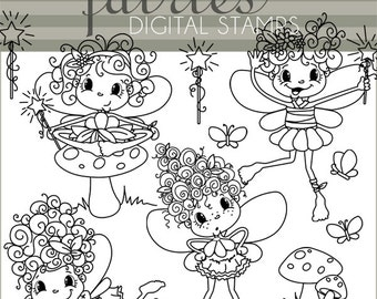 Fairy Clipart -Personal and Limited Commercial- Cute Fairy and Toadstool  Black Line Art