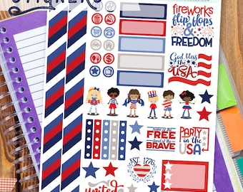 4th of July Stickers Planner Printable - Cute Patriotic Kids Print and Cut Planner Sticker Sheet