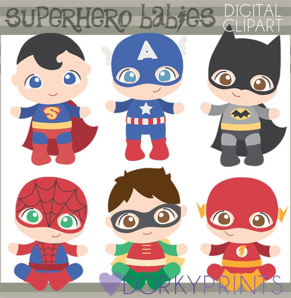 Superhero Baby Clipart Personal and Limited Commercial Use ...
