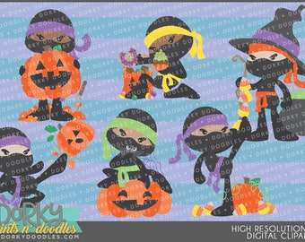 Halloween Ninja Clipart - Digital PNG Art