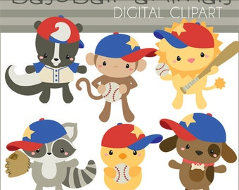 Baseball Clipart -Personal and Limited Commercial- Animal Baseball Clipart, skunk, raccoon, lion, puppy