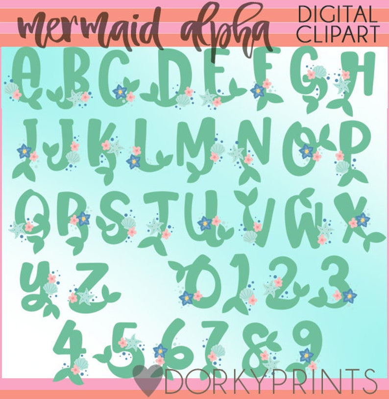 Mermaid Tails Font Clip Art Personal and Limited Commercial Use Mermaid Clipart Alphabet and Numbers