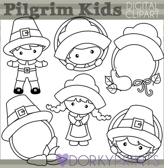 Thanksgiving Clipart Pilgrim Kids Personal And Limited Etsy