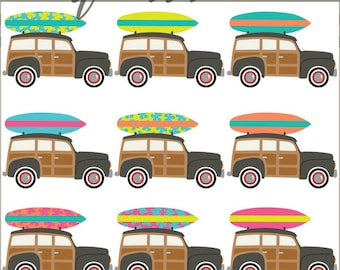 Surfboard Clipart -Personal and Limited Commercial Use- woody cars and surfboard clipart - Instant Download
