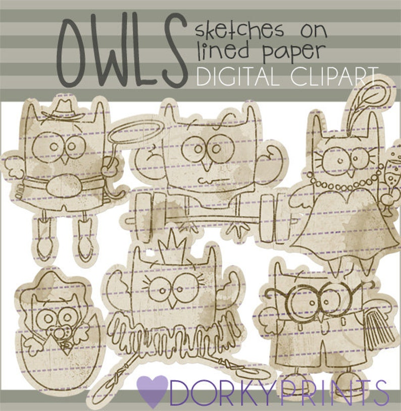 Owl Clipart Owl Sketches Personal and Limited Commercial ...