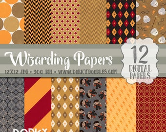 Wizards Digital Paper Pack, Magical School Digital Backgrounds - Fun Wizard Papers