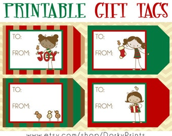Christmas Printable Gift Tags PDF - Printable Party Supplies - Christmas Tags DIY