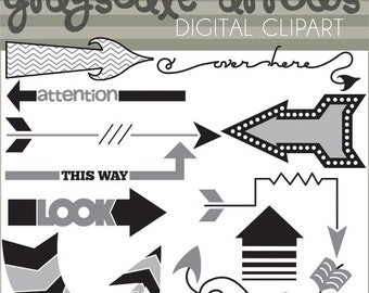Arrows Clipart -Personal and Limited Commercial- Grayscale Black and White Arrow Images