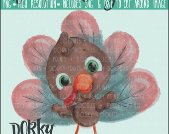 Happy Turkey Watercolor PNG Artwork - Digital File - for heat press, planners, cookies, and crafts