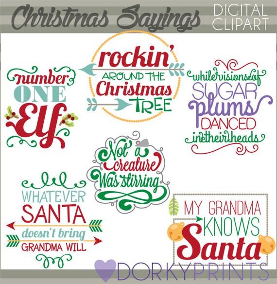 Weihnachten Clipart Zitate und Scrapbook-Titel-persönliche und | Etsy