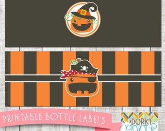 Halloween Pumpkin Printable Bottle Labels PDF - Printable Party Supplies - Jack-O-Lantern Halloween Labels