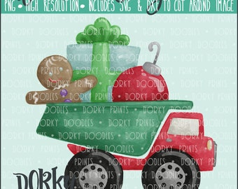 Christmas Dumptruck Watercolor PNG Artwork - Digital File - for heat press, planners, cookies, and crafts