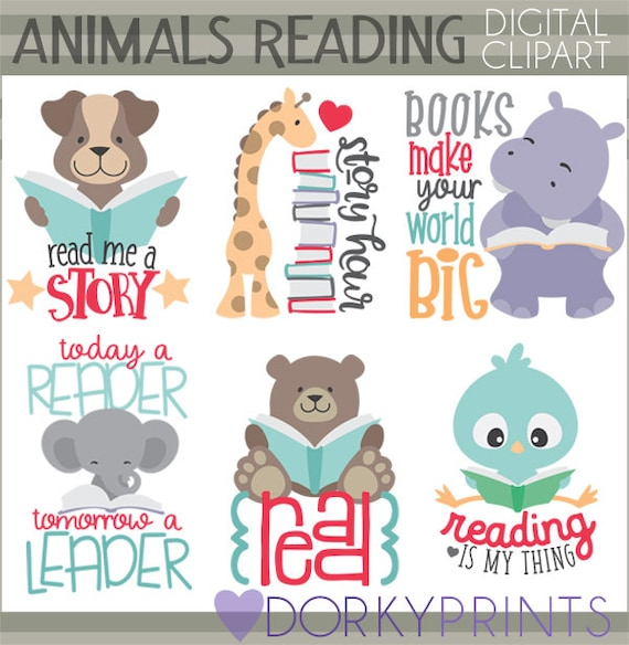 Reading Quotes For Kids | Animals Reading Clipart Personal And Limited Commercial Use Etsy