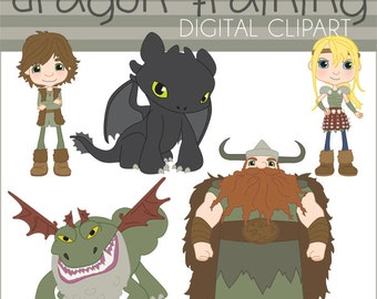 Train Your Dragon Clipart Set -Personal and Limited Commercial- Toothless, Hiccup, Astrid, Stoick, Grockle Clip Art
