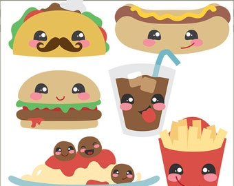 Kawaii Food Clip Art -Personal and Limited Commercial Use- Cute Dinner Clipart