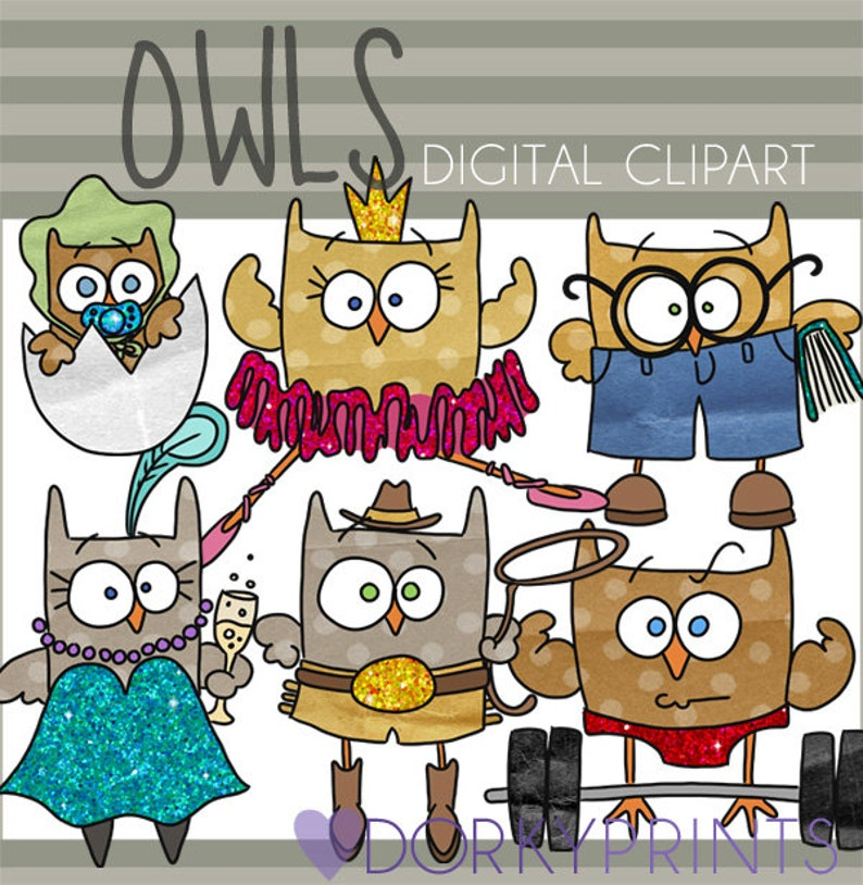Owl Clipart Set Personal and Limited Commercial Use Cute ...