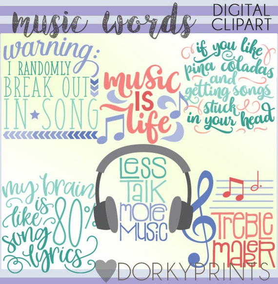 Music Word Art Clipart Personal And Limited Commercial Use Etsy