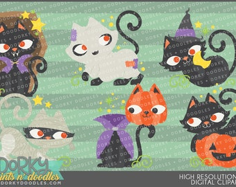 Halloween Cats Clipart - Digital PNG Art