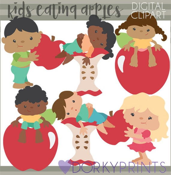 Kids Eating Apples Clipart Personal And Limited Commercial Use Apple Digital Clipart
