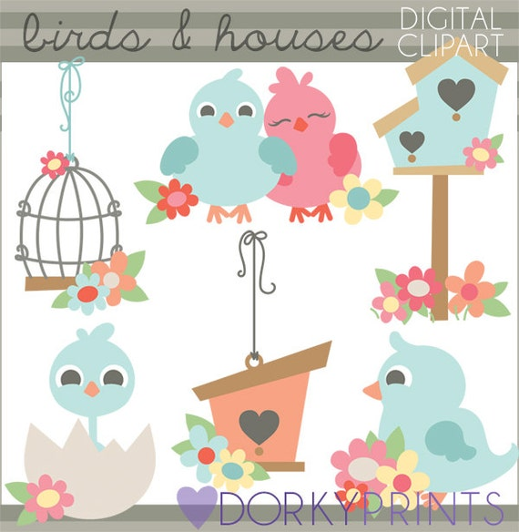 birds and birdhouse clipart personal and limited commercial etsy rh etsy com Cute Baby Bird Clip Art Cute Baby Bird Clip Art