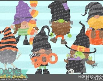 Halloween Gnomes Clipart - Digital PNG Art