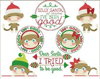 Christmas Clipart Sock Monkeys -Personal and Limited Commercial Use- Santa Sock Monkey, Sock Monkey Holiday Clip art