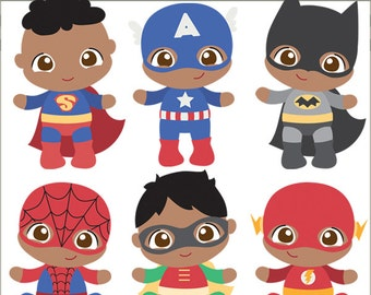 Superhero Baby Clipart -Personal and Limited Commercial Use- Super Heroes Babies Clip art