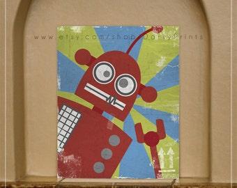 Red Robot Printable Art -PDF Printable File- fun kids room decor