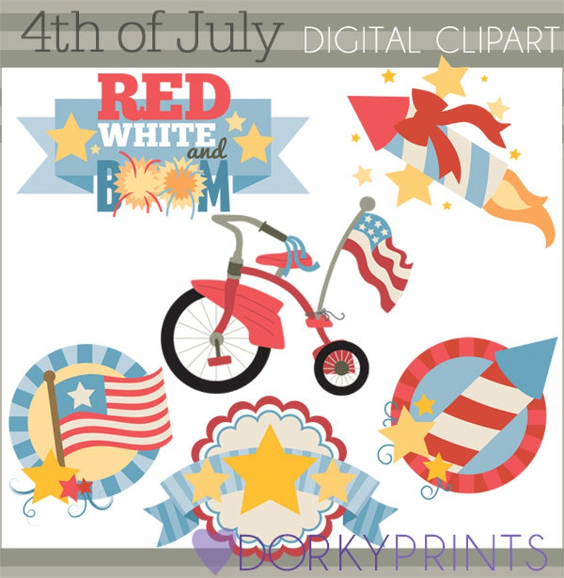 Fireworks 4th of July Clipart -Personal and Limited Commercial Use- Red White and Blue Clip art Stars Tricycle