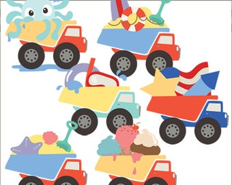 Summer Dump Trucks Clipart -Personal and Limited Commercial Use- Octopus, Beach, Patriotic, Ice Cream, Swimming Dumptruck Clip art