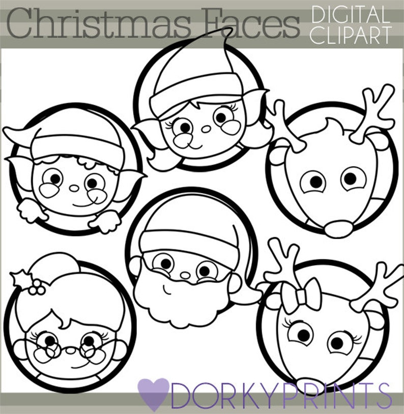 Christmas Clipart Christmas Faces Personal And Limited