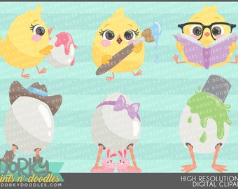 Cute Easter Chicks and Eggs Clip Art -Personal and Limited Commercial Use- Spring Clipart