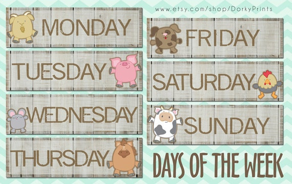 Days Of The Week Farm Animals Pdf Preschool Printable Etsy