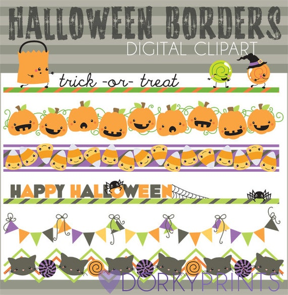 halloween clipart halloween borders personal and limited commercial rh etsystudio com printable halloween clipart borders printable halloween clipart borders