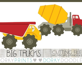 Cement Mixer and Dumptruck SVG Files, Cuttable - svg, mtc, jpg, studio 3, and dxf files