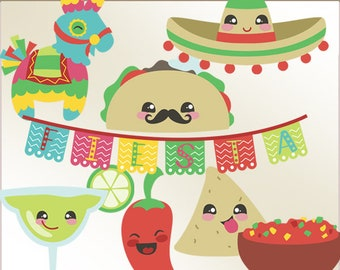 Fiesta Clipart Set -Personal and Limited Commercial Use- Cute Cinco de Mayo Clipart