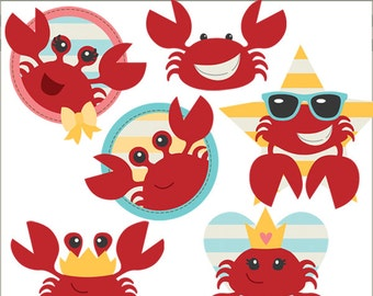 Crab Clipart Set  -Personal and Limited Commercial Use- cute crabs clip art